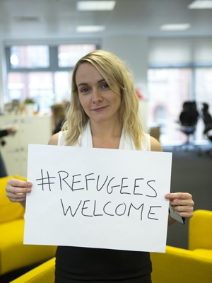 Save the Children staff support the Child refugee crisis campaign with #RefugeesWelcome
